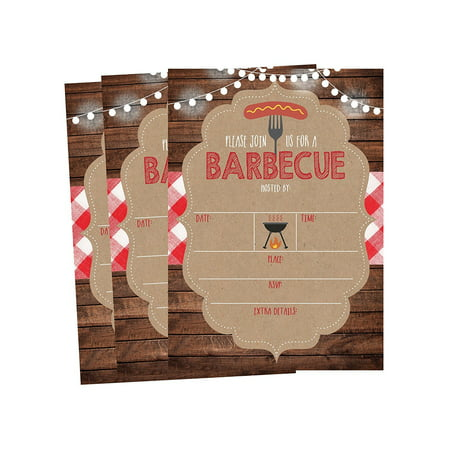 50 Wood Summer BBQ Party Invitations for Children, Kids, Teens & Adults, I Do Barbecue Beach Housewarming Cards, Red and White Summertime Birthday, Pool Family Reunion, Picnic Cookout Invites - Halloween Party Invite Wording For Adults