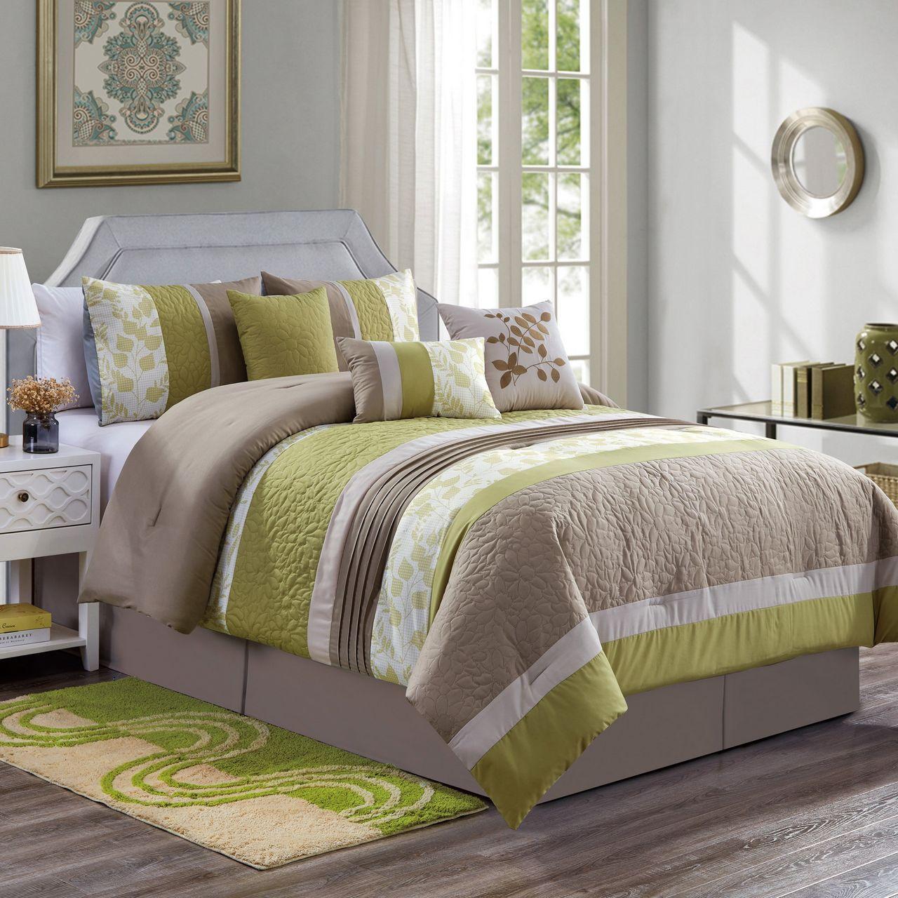 7 Piece Kinsey Green/Taupe Comforter Set