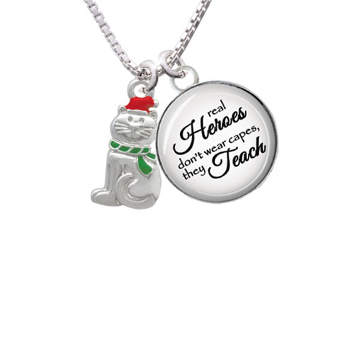 "2-D Christmas Cat with Red Hat Real Heroes Teach Glass Dome Necklace, 18""+2"""