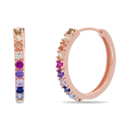 Silver Plated Hook (Lesa Michele Rainbow Cubic ZIrconia Round Huggie Hoop Earring in Rose Gold Plated Sterling Silver)