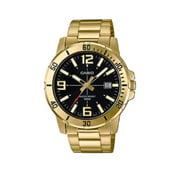 Mens 50-meter Water Resistant Black Dial Stainless Steel Gold Watch MTP-VD01G-1BVUDF
