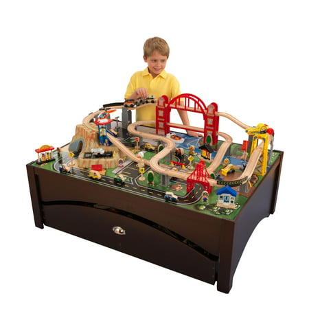 KidKraft Metropolis Wooden Train Set & Table with 100 accessories included (Educational Train)