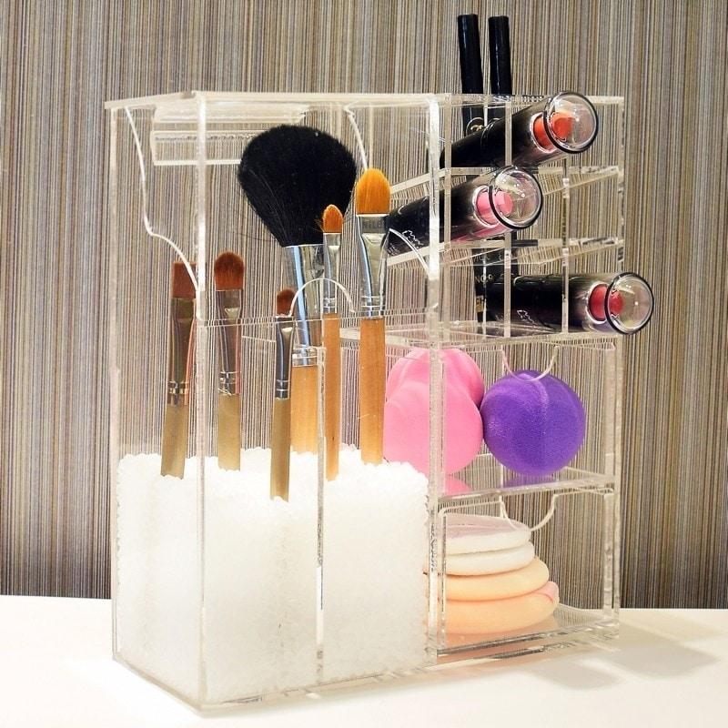 Ikee Design Acrylic Makeup Brush Holder Cosmetic Organizer 7 3 8 W X 3 5 8 D X 8 5 8 H Clear Brickseek