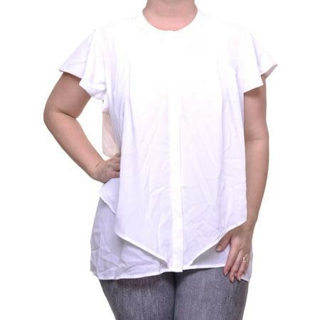 3bb17ad77b520 Alfani Bright White Top Blouse Ruffle Sleeve Size 12 NWT - Movaz -  Walmart.com