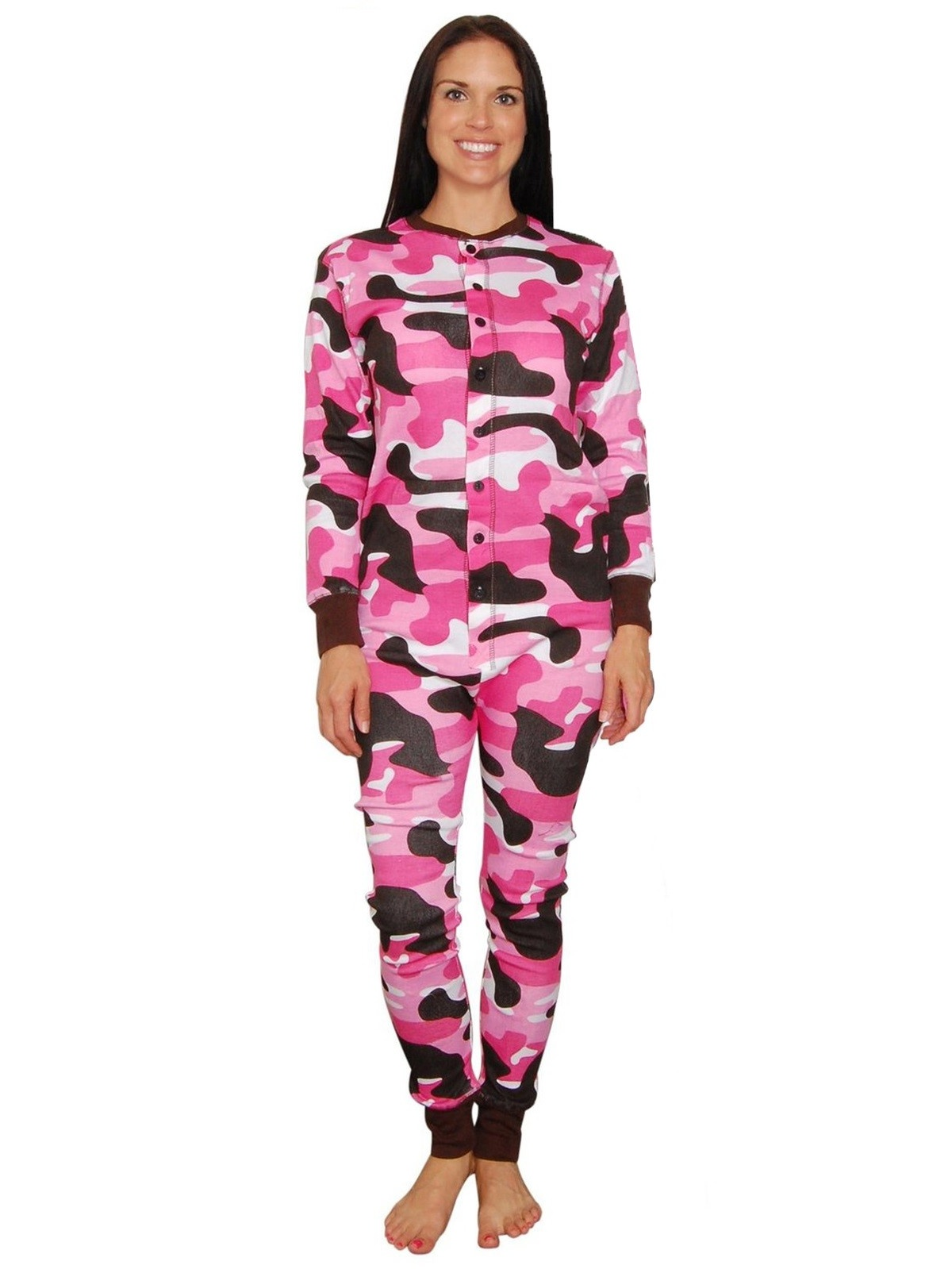 Lazy One Womens Pink Camo Flapjacks Adult Onesie Loungewear Pajamas ...