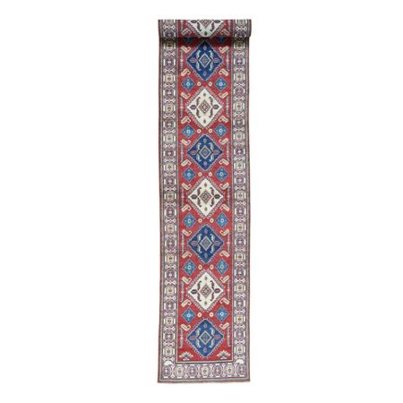 1800 Get A Rug Sh31651 2 Ft 7 In X 16 Hand Knotted Pure Wool Runner Tribal Kazak Oriental Red Extra Large