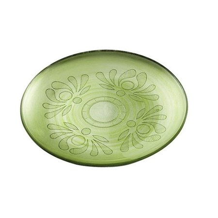 """Majestic Gifts Inc. Majestic Gifts European High Quality Glass Salad  Plate W/ Etched Design- Green-8.3"""" Diameter"""