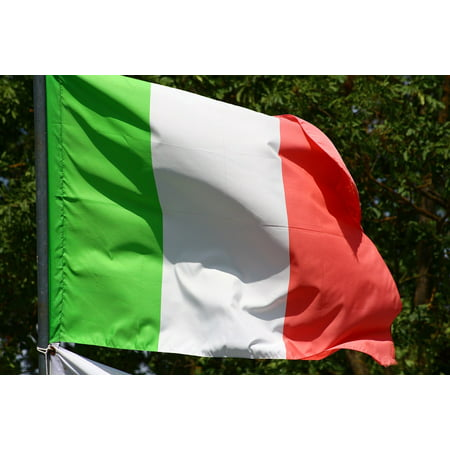 Peel-n-Stick Poster of Flag Nation Italian Rome Wave Italy Patriotic Poster 24x16 Adhesive Sticker Poster (Rome Italy Flag)