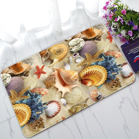 GCKG Underwater World Sea Animal Starfish Seashells Non-Slip Doormat Indoor/Outdoor/Bathroom Doormat 30 x 18 Inches