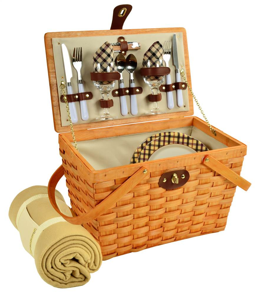 Frisco Picnic Basket with Blanket Set for 2 by Picnic at Ascot