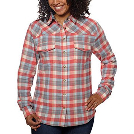 Front Snap Pockets (Jachs Girlfriend Ladies' Flannel Shirt, Brushed Flannel, 2 Front Pockets with Snap Closure (Small, Orange))