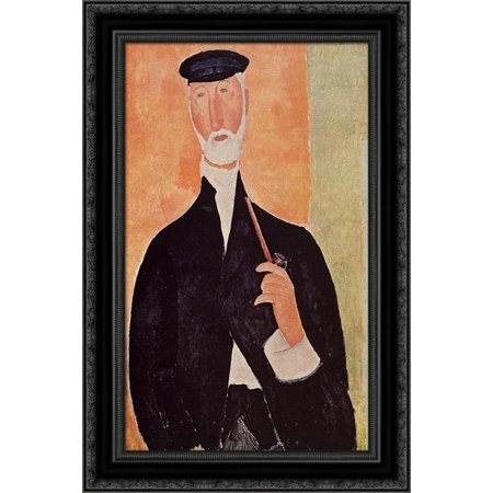 Notary Wood - Man with a Pipe (The Notary of Nice) 17x24 Black Ornate Wood Framed Canvas Art by Modigliani, Amedeo