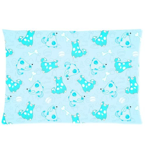 ARTJIA Kid Seamless Pattern With Cartoon Blue Dogs Pillow Case 20x30 inches Two Sides Print
