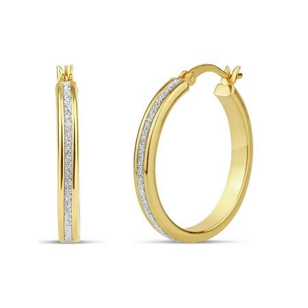 3mm Large Hoop Earrings - 18kt Gold over Sterling Silver 25mm x 3mm Glitter Hoop Earrings