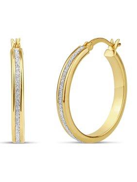 18kt Gold over Sterling Silver 25mm x 3mm Glitter Hoop Earrings