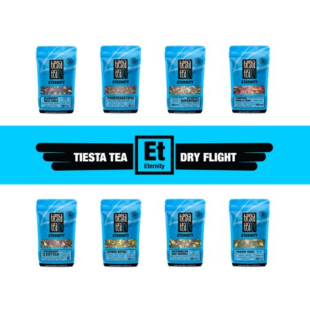 (Tiesta Tea ETERNITY Dry Flight, 8 Loose White, Green & Herbal Tea Blends, 8 to 12 Servings of Each Flavor, Low Caffeine, Sampler Gift Set)