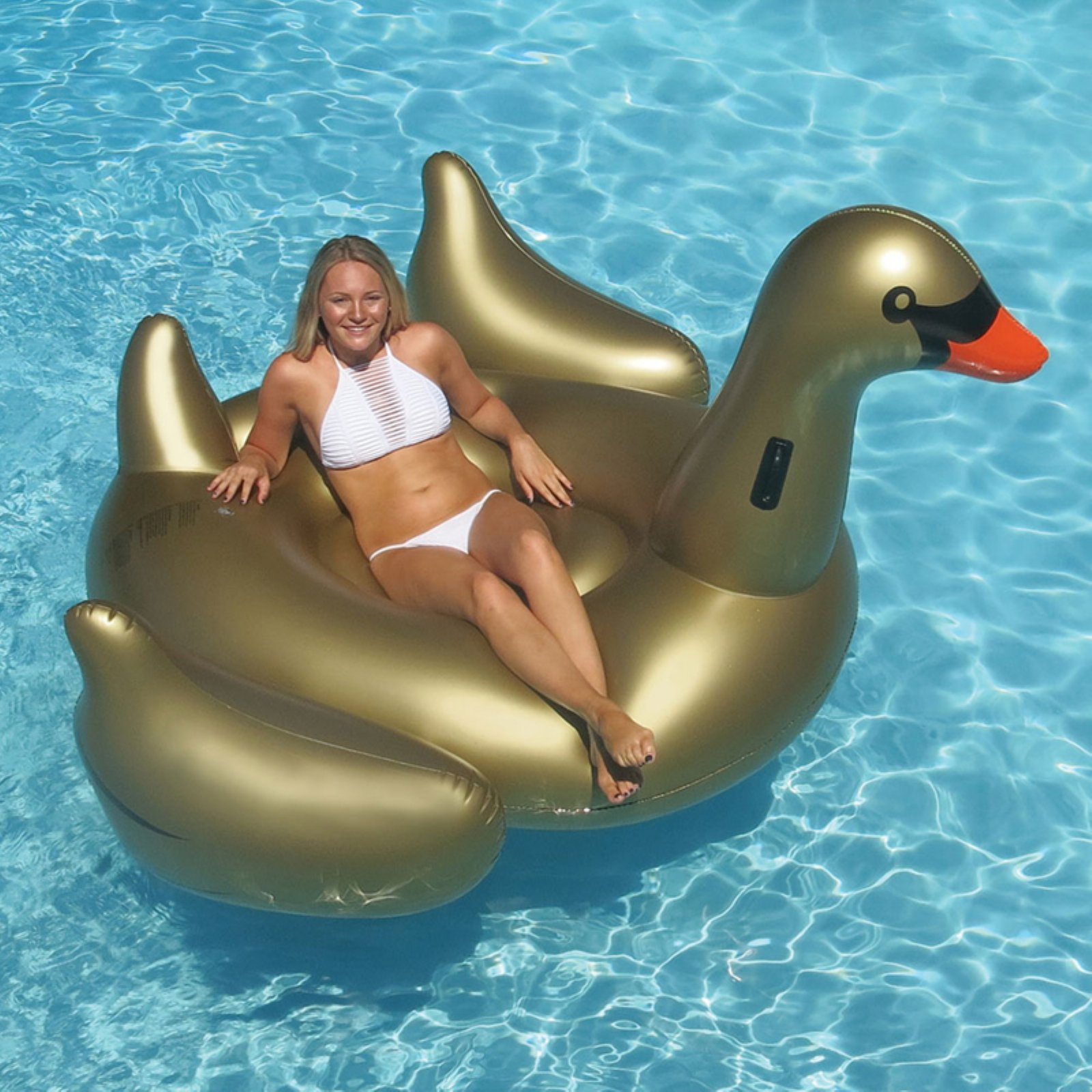 Swimline Giant Golden Goose Float for Swimming Pools