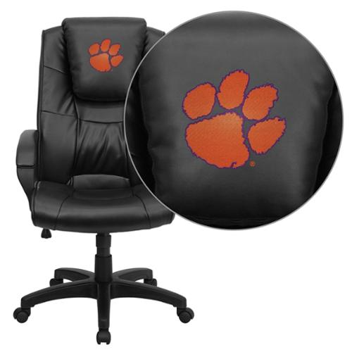 Clemson University Leather Executive Office Chair in Black