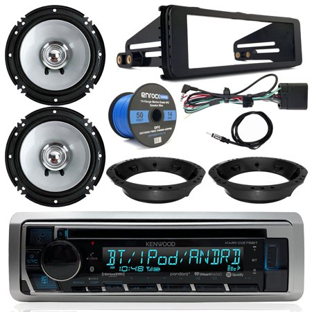 "1998-2013 Harley Davidson Radio Package - Kenwood USB CD Bluetooth Marine Radio, 2x Kenwood 6.5"" Speakers, Dash Radio Install Kit, Speaker Adapters, Speaker Wire, Antenna (FL Models)"