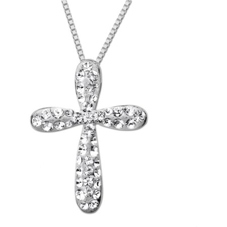 Swarovski Cross - Sterling Silver White Cross Pendant made with Swarovski Elements, 18