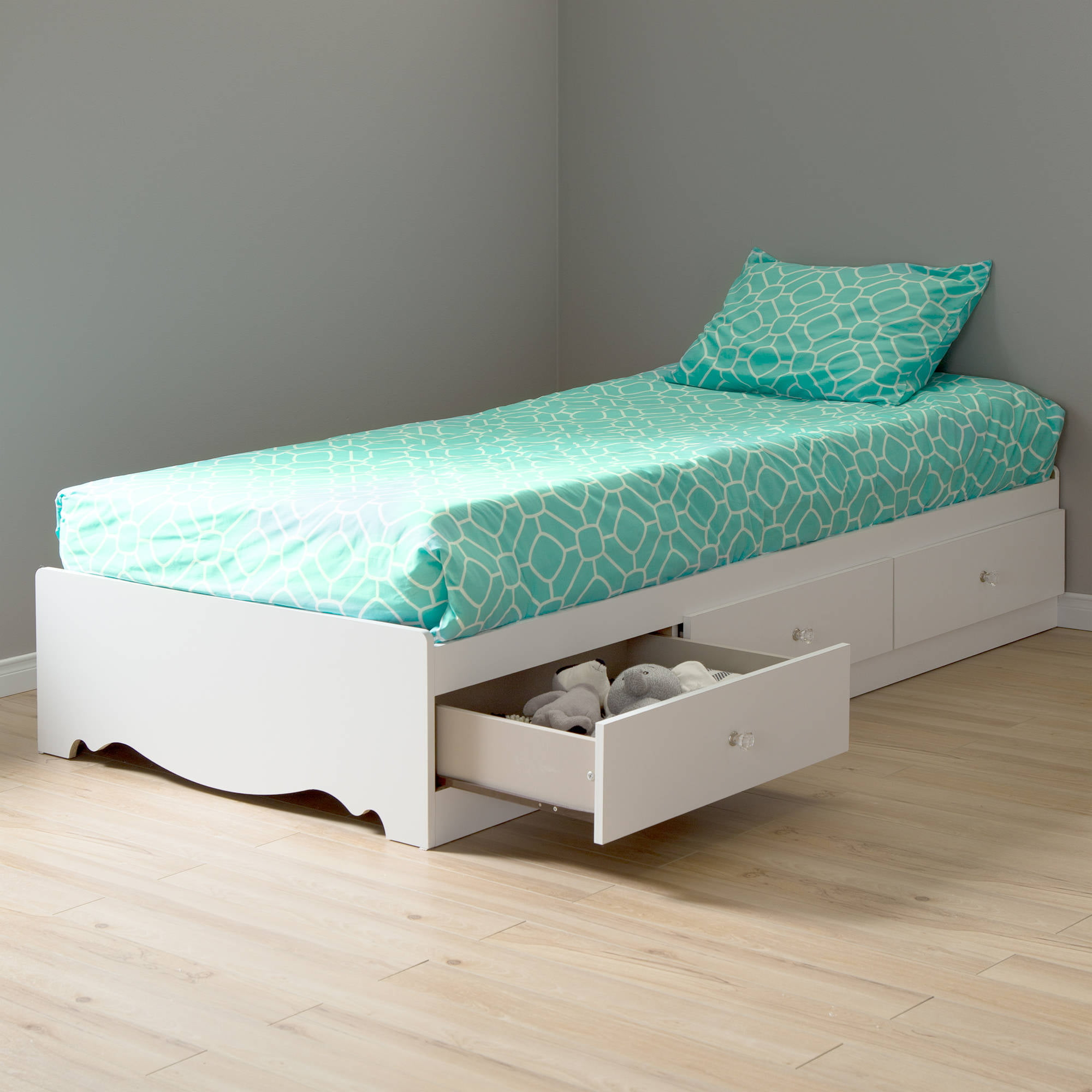 White twin bed with storage - South Shore Mika Kids Twin Storage Mates Bed Frame Only In Classic Cherry Finish Walmart Com