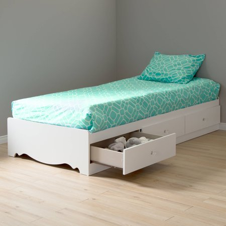 crystal twin storage bed 39 39 39 with 3 drawers pure white. Black Bedroom Furniture Sets. Home Design Ideas