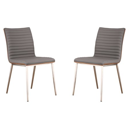 stainless steel dining room chairs | Armen Living Cafe Brushed Stainless Steel Dining Chair ...