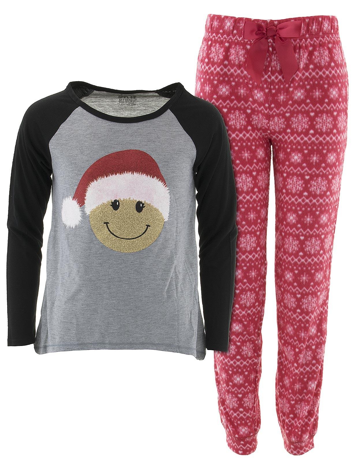 Sleep On It Girls Emoji Santa Gray Christmas Pajamas