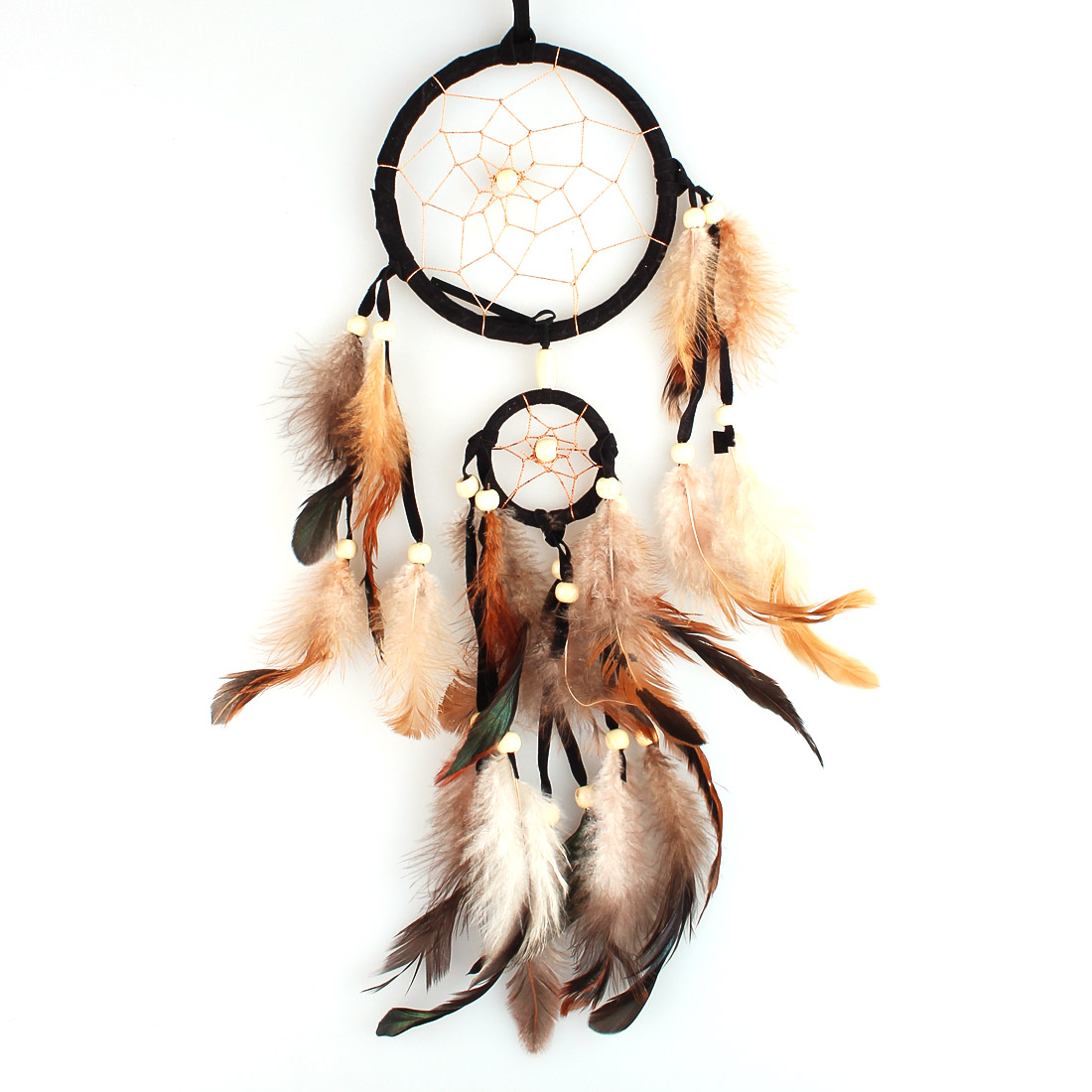 Dream Catcher with Feather Hanging,Indian Style,Handmade Decoration,11cm/4.33inch Diameter,45cm/17.72inch Long  - Black