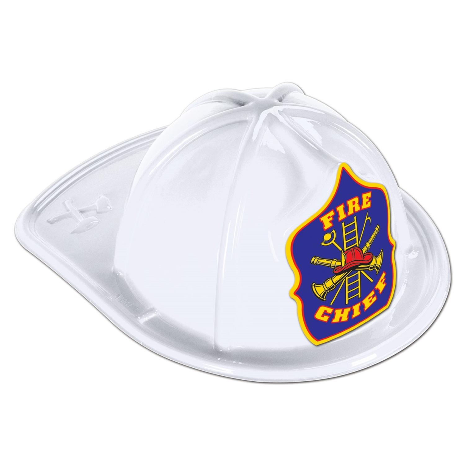 Club Pack of 48 Blue Shield White Plastic Fire Chief Party Hat