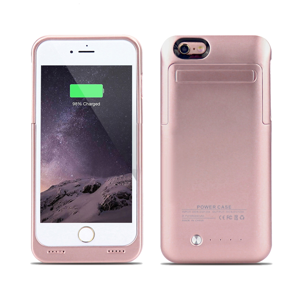 IPhone 6 / 6S Plus External Battery Backup Case Charger Power Bank 3500mAh Stand Rose Gold
