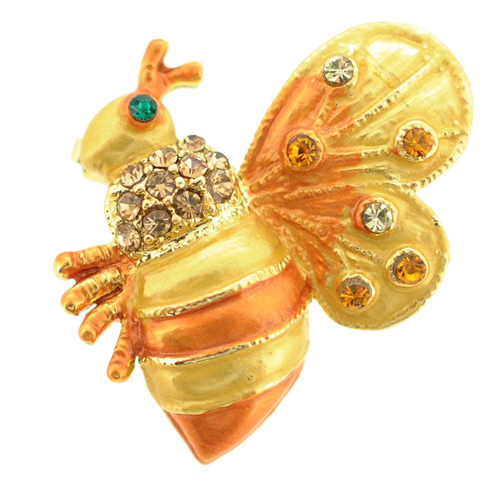 Golden Brown Bee Bug Swarovski Crystal Brooch Pin by