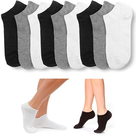 9 Pair Women Ankle Socks Low Cut  Fit Crew Size 9-11 Sport Black White Grey