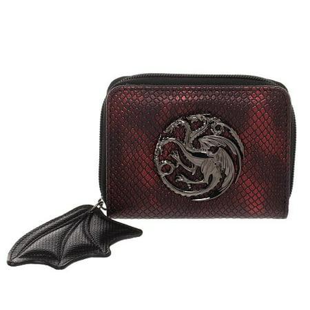 Bioworld - Game of Thrones Targaryen Bi-Fold Wallet with Dragon Wing zipper and House Targaryen Sigil ()