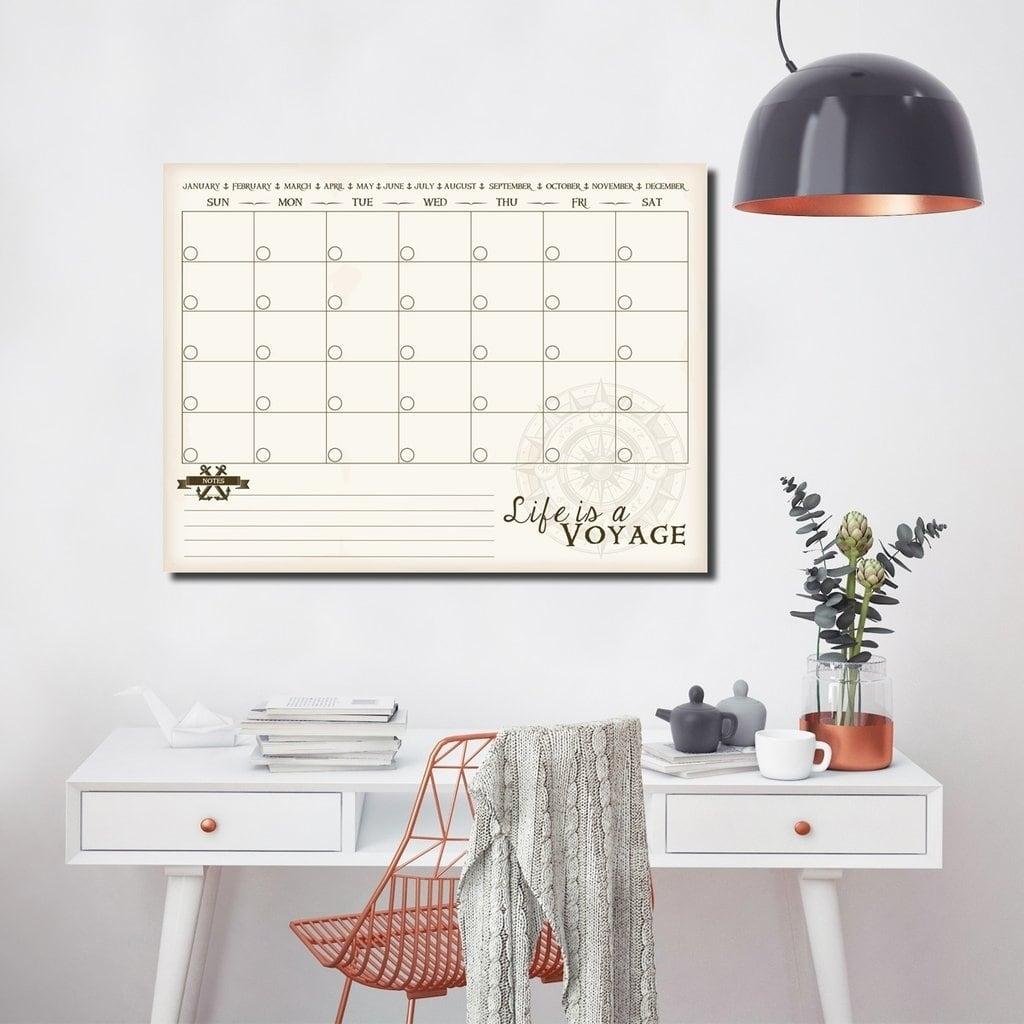 Ready2HangArt R2H Methods 'Life is a Voyage' Dry Erase Monthly Calendar on ArtPlexi - CREAM