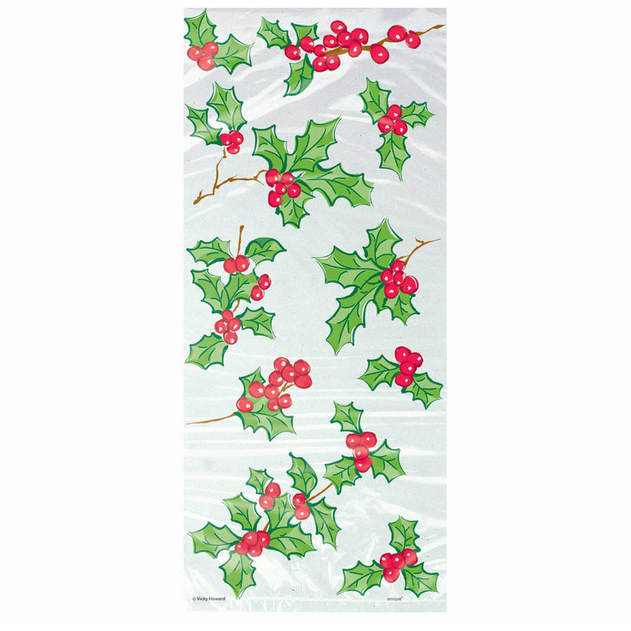 Holly Garland Holiday Cellophane Bags, 11 x 5 in, 20ct