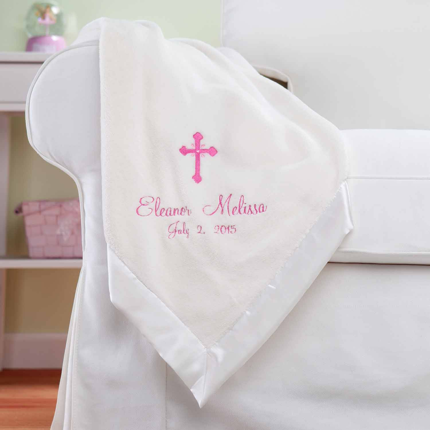 Personalized Precious Cross For Her Cream Baby Blanket