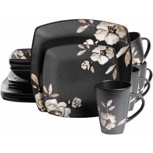 Gibson Studio 16-Piece Madame Floral Square Stoneware Dinnerware Set, Black Cream Floral