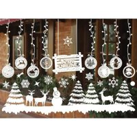 AkoaDa Christmas Snowflake Window Cling Stickers for Glass, Xmas Decals Decorations Holiday Snowflake Santa Claus Reindeer Decals for Party