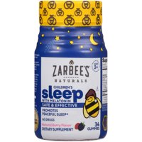 Zarbee's Naturals Children's Sleep Gummies with Melatonin, Berry 34 Ct