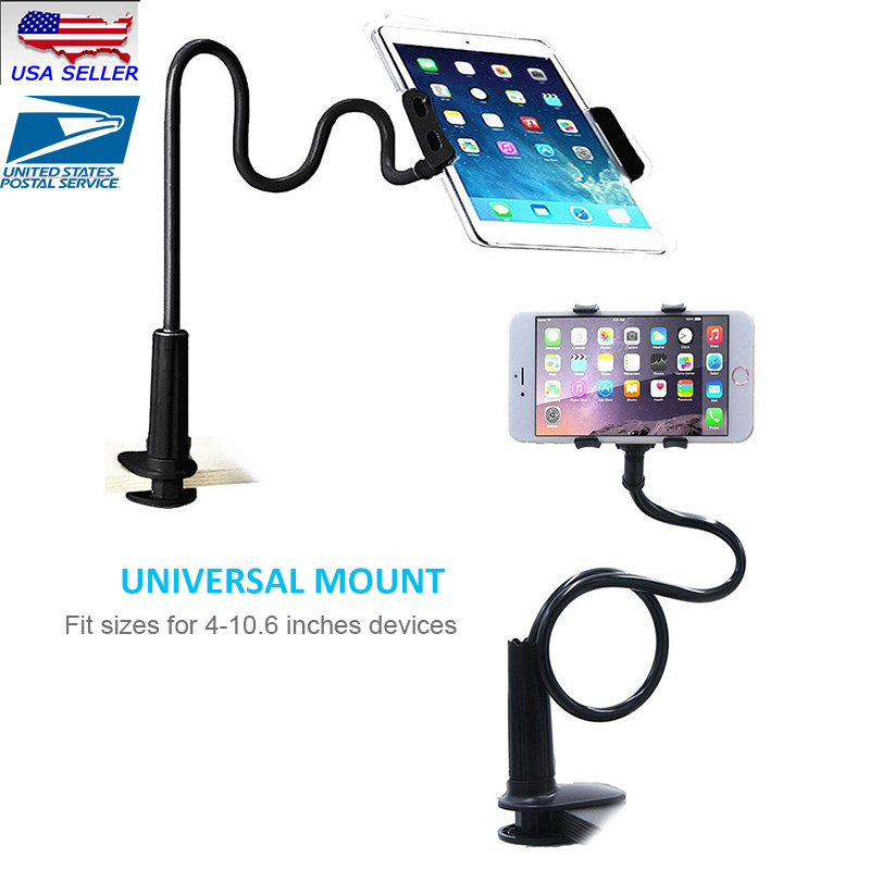 Flexible Lazy K Phone Holder Stand Tablet Cell Phone Desk Mount Bracket Mobile Phone Holder,White