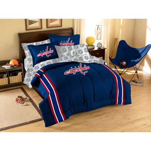NHL Applique 3-Piece Bedding Comforter Set, Capitals