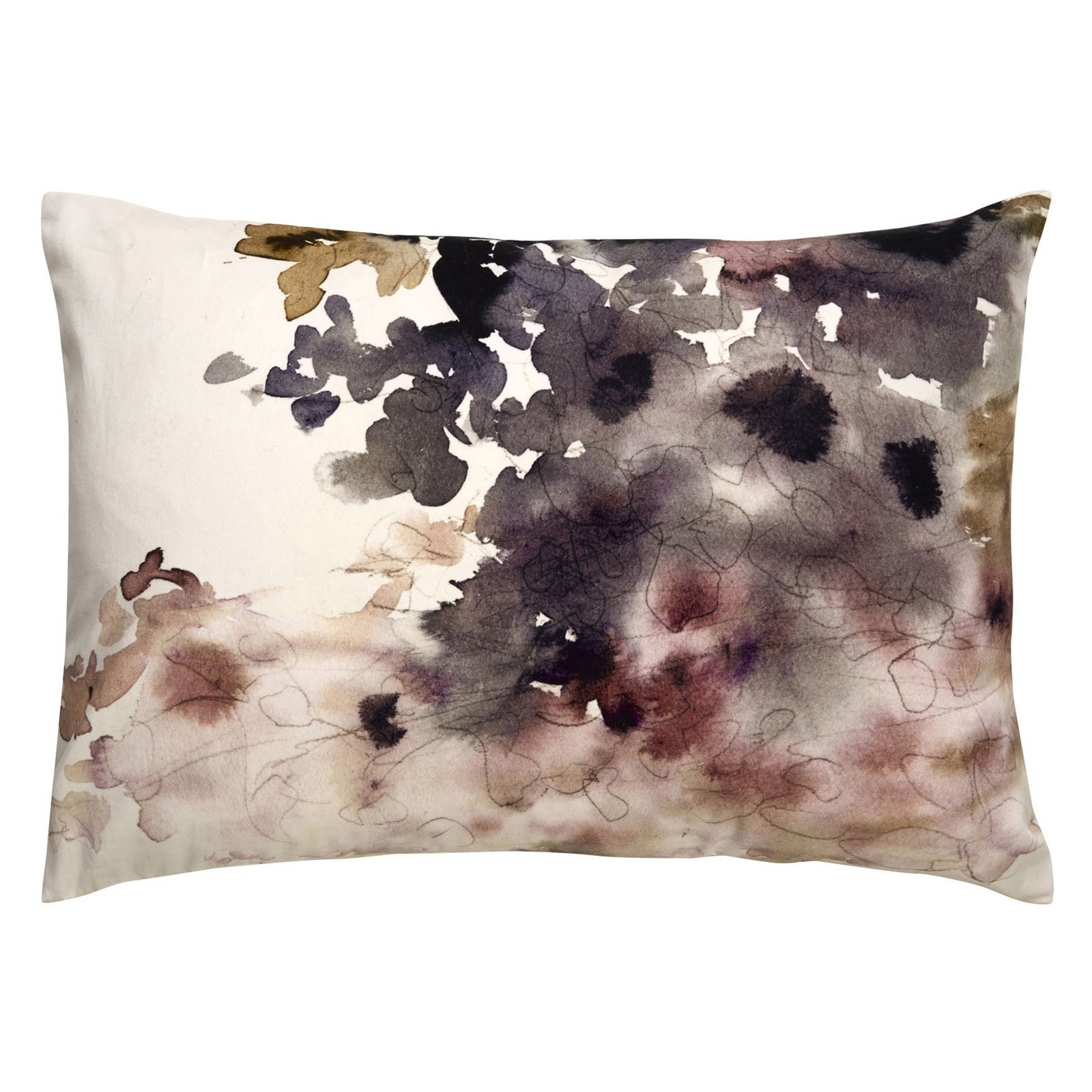 Jaipur Watercolor Cotton and Polyester Decorative Pillow - Ivory / Taupe