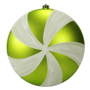 """Large Green & White Swirl Candy Shatterproof Christmas Disc Ornament 12"""" (300mm)"""