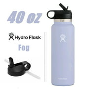 Hydro Flask 40oz Wide Mouth Water Bottle w/ Straw Lid 2.0 Stainless Steel & Vacuum Insulated, Fog