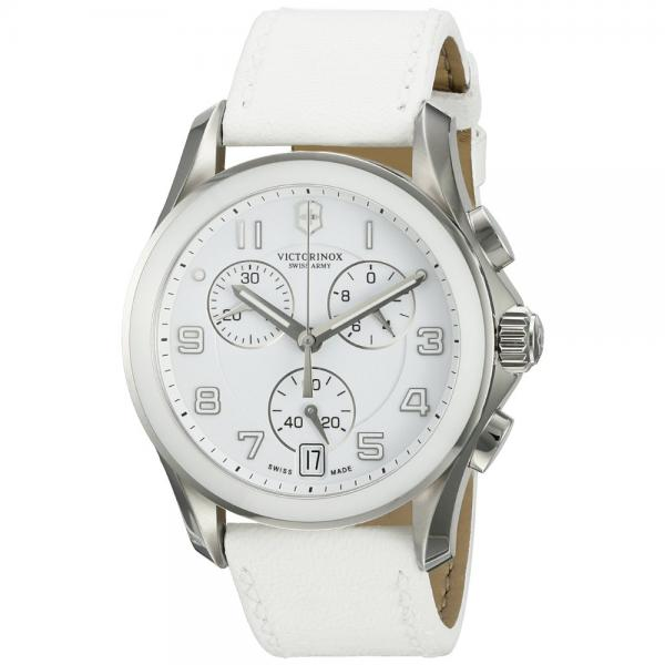 Victorinox Women's 'Chrono Classic' Swiss Quartz Stainless Steel and White Leather Casual Watch (Model: 241500)