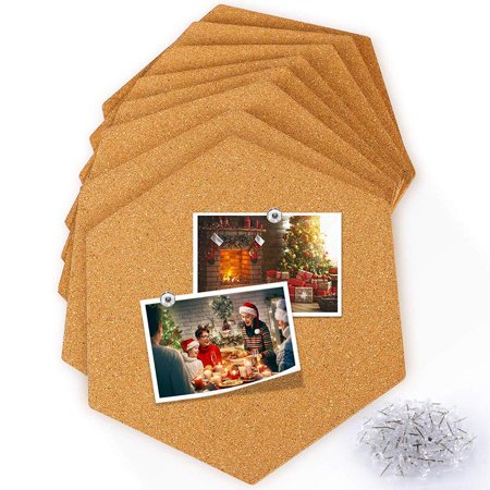 Hexagon Cork Board Tiles 8 Pack with Full Sticky Back,Household Mini Wall Bulletin Boards Ideas,Pin Board-Decoration for Pictures,Photos,Notes,Goals,Drawing,Painting-Bonus 50 Pins