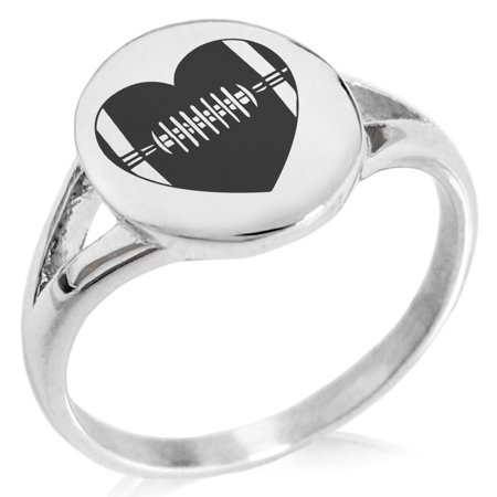Stainless Steel Love Football Heart Minimalist Oval Top Polished Statement Ring (Polished Stainless Steel Top)