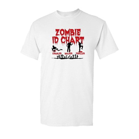 Zombie ID Chart Halloween Dead Walkers Tee Walking Costume Scary Halloween Undead Horror Funny Humor Pun Graphic Adult Mens T-Shirt - Scary Zombies Costumes