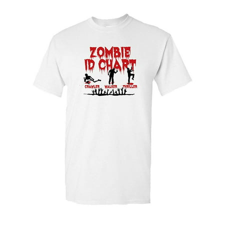 Zombie ID Chart Halloween Dead Walkers Tee Walking Costume Scary Halloween Undead Horror Funny Humor Pun Graphic Adult Mens T-Shirt - College Humor Racist Halloween